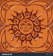 tribal sun crescent moon seamless stock vector 151672898