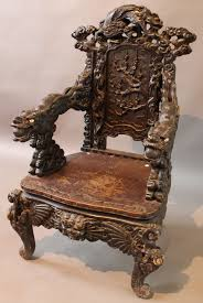 0498 antique black forest carved walnut hall chair lot 498