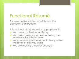 A Functional Resume Career And Financial Management Ppt Download
