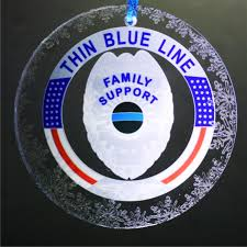 thin blue line family support police badge crystal snowflake ornament
