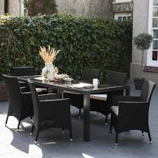 huntingdon 6 seater black rattan dining set with table