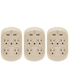 Luxury Power Outlets Revolve 3 4 Set Of 3 Surge Protectors W 4 Outlets U0026 2 Usb Ports