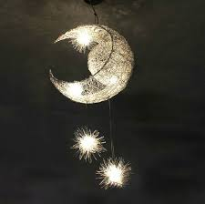 luminaire suspension chambre moderne personnalisé lune étoiles lustre pendentif le enfants