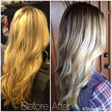 does hair look like ombre when highlights growing out before and after grown out foiled blonde highlights to natural