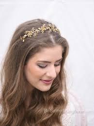 gold headpiece gold metal flower headband wedding headpiece metal headband for