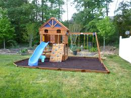 natural green grass with pea gravel garden backyard playsets for