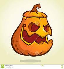 halloween scary pumpkin head scarecrow vector illustration for