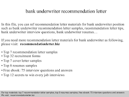 Sample Underwriter Resume by Bank Underwriter Recommendation Letter