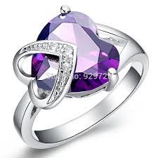 large ladies rings images Heart purple crystal rings silver plated ladies fashion large jpg