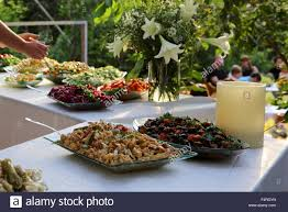 outdoor salad bar on a buffet table stock photo royalty free