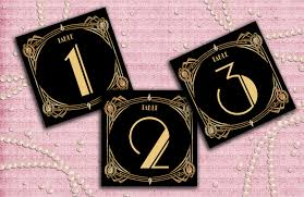 themed table numbers gatsby deco table cards 1 60 table numbers table avec deco