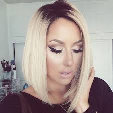black at root of hair medium straight bob hairstyle for blonde hair popular haircuts