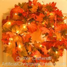 pre lit wreath falling leaves prelit fall wreath artificialchristmaswreaths