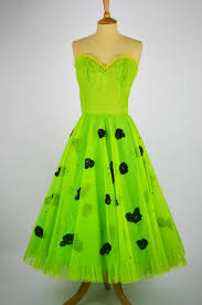 1950s vintage prom dress lime green tulle black rose detail