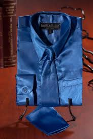 royal blue shirt online satin silk shirt with tie