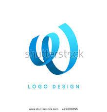 logo ribbon letter w logo design blue ribbon stock vector 429801055