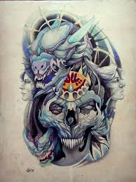 blue faces skull tattoo design dragon best tattoo designs