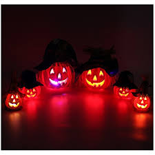 set of 6 light up halloween jack o u0027 lantern decorative pumpkin