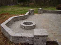 backyard patio ideas with fire pit patio with seat wall columns and fire pit hardscapes