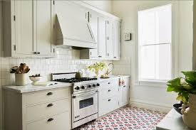 Red And Black Kitchen Tiles - light gray kitchen with red and black mosaic tile floor