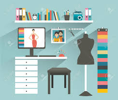 office workplace fashion designer office flat design vector