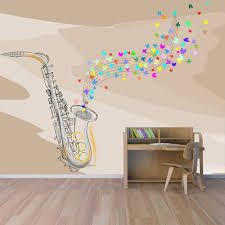 jazz home decor saxophone wall mural music wallpaper bedroom photo home decor
