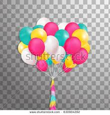 Pink And Yellow Birthday Decorations Big Bunch Beautiful Pink Blue Balloons Stock Vector 629371532