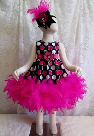 18 24 mo black pink white polka dot feather dress matching