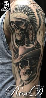 cowboy and indian skull tattoos pictures to pin on