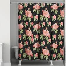 Pink Flower Shower Curtain Buy Pink Black Shower Curtains From Bed Bath U0026 Beyond
