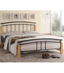 Beech Bed Frame Tetras Single Black Metal Bed Frame With White Posts