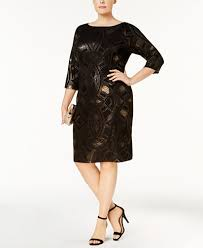 Draped Black Dress Sangria Plus Size Metallic Print Draped Back Sheath Dress