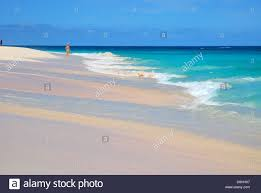 beautiful pink sand beach and turquoise water in bermuda stock