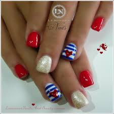 coral and white nail designs