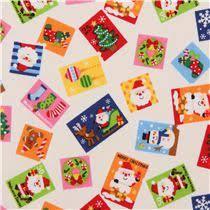 colored card santa claus fabric from japan