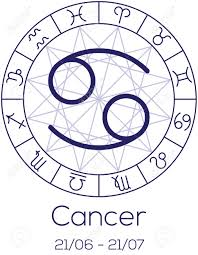 zodiac sign cancer astrological symbol in wheel with polygonal