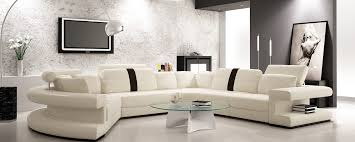 divani casa 6123 modern white and black leather sectional sofa