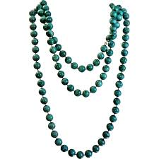 beads necklace images Vintage teal green painted beads necklace extra long single jpg