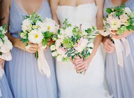 bridal bouquet wedding flowers for bridesmaids white green pastels