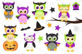 Cute Halloween Graphics by Cute Halloween Owls Clipart Illustrations Creative Market