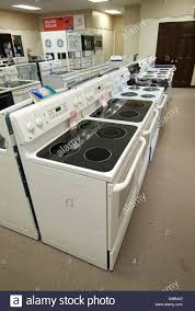 New Clothes Dryers For Sale Display Of New Stove Or Range Appliances In Store For Sale Stock