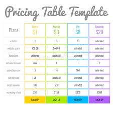 pricing table template stock illustration image of hosting 57097733