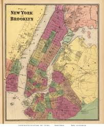 New York City New York Map by New York City And Brooklyn New York 1868 Old Town Map Reprint