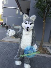 mascot costumes for halloween free shipping realistic grey wolf dog fursuit mascot costume for