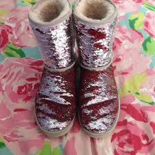 ugg s jillian boots 64 ugg shoes sparkle sequin uggs size 9 silver to and