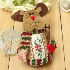 christmas santa claus elk snowman flannel ornaments home decor