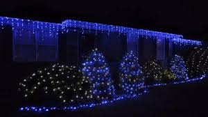 blue led icicle outdoor lights twinkle style