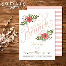 bridal shower brunch invite blush pink floral bridal shower brunch by dandylionpaper on etsy