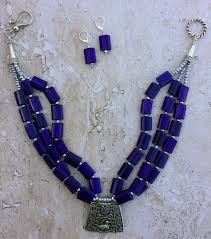 purple stone necklace images Multi strand purple jade stone antique silver tribal pendant JPG
