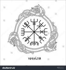 vegvisir magic navigation compass ancient stock vector